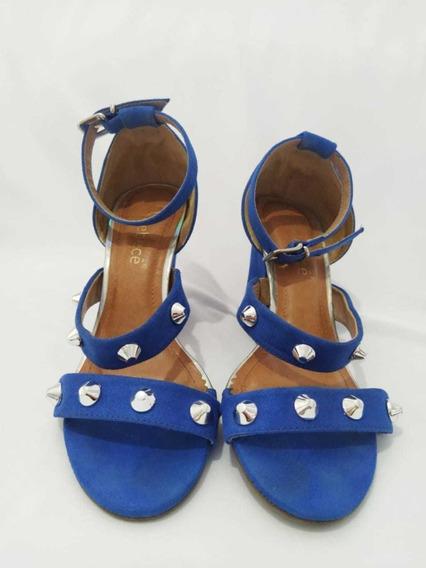 Sandália Salto Alto Azul Royal Com Spikes Bebecê
