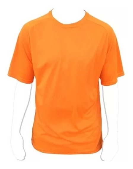 Lote 10 Unid Remeras Deportivas Dry Fit Naranja Talla S Y M