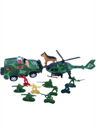 Set De Combate /soldados /camioneta/helicoptero /perro