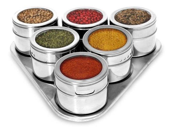 Porta Condimentos Temperos Inox Potes 7 Peças Imã Cozinha