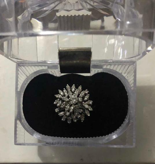 Anillo De Compromiso Oro Blanco Con Diamantes Naturales