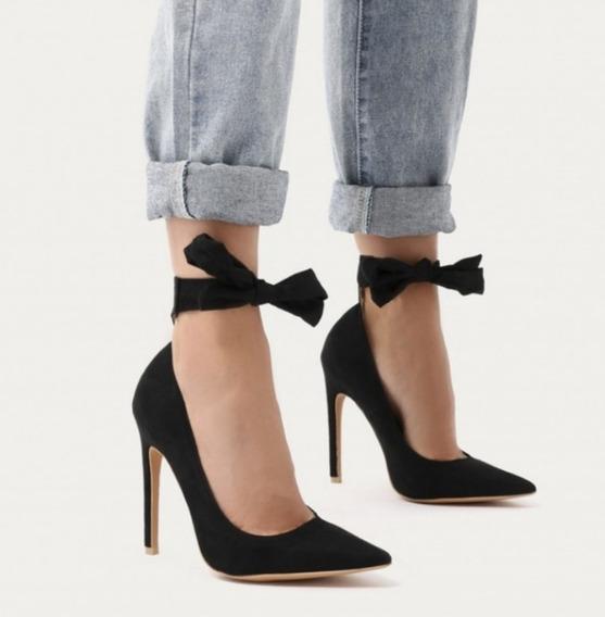 Sapato Feminino Importado Salto Alto Scarpin Laço Traseiro