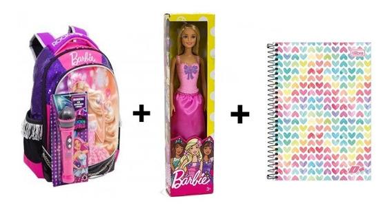 Mochila Escolar Barbie+caderno Universitario+brindes Grtais