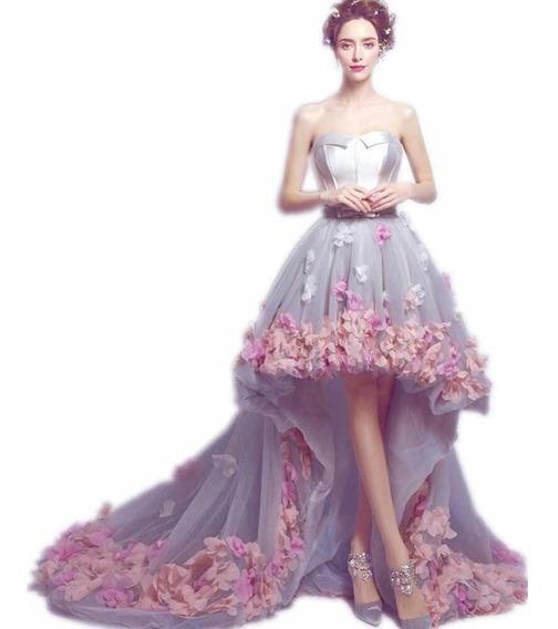 Vestido De Fiesta Xv Años Dama Con Flores 3d Importado