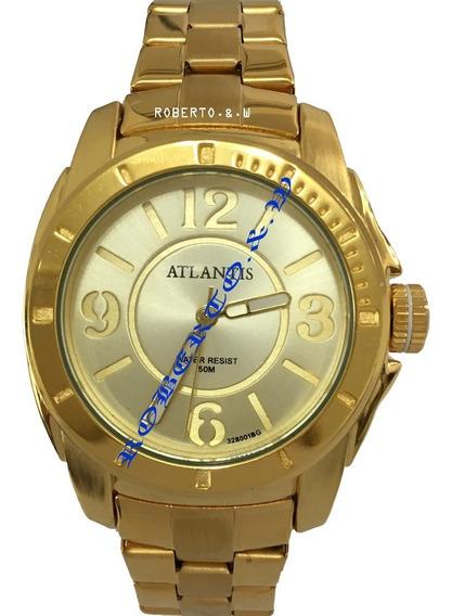 Relógio Feminino Luxo Atlantis Dourado Frete Gratis