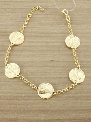 Bracelete Feminino Nossa Senhora Aparecida Folheada Ouro