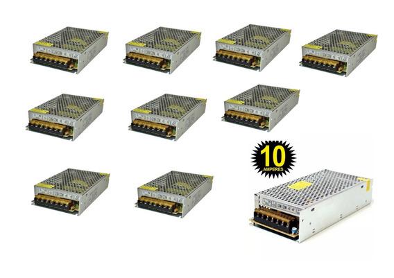 Kit C/ 10 Fontes Chaveada 12v 10 A Colmeia Som E Led 10f10a