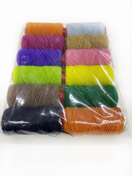 12 Bobinas Hilos Elásticos Colores Surtidos X 25mts