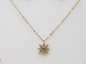 Colar Cordão Feminino Ouro 18k Pingente Estrela Pedra Verde