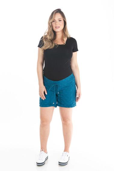 Short Gestante Lese Azul Marinho - Moda Gestante