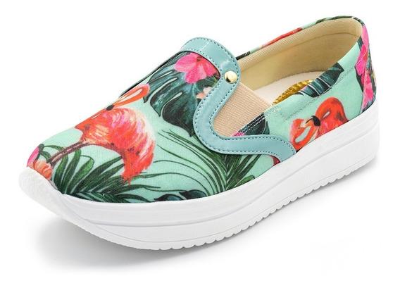 Sapatilha Slip On Feminino Sola Alta Tratorada Tecido Floral