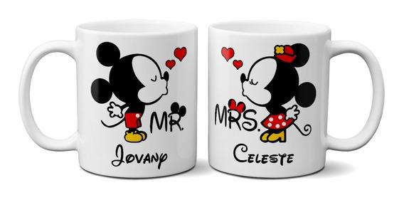 Tazas Para Novios Mickey Mouse Con Nombres 11oz (2pzas)