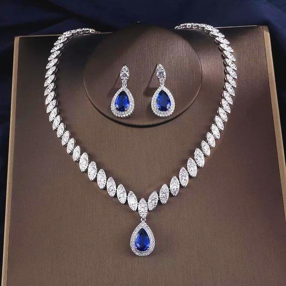 Conjunto Colar Cravejado E Brincos Zircônia Gota Azul Safira