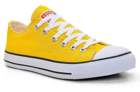 Tenis All Star Cano Baixo Amarelo Vivo Promoção