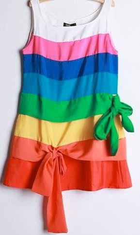 Hermoso Vestido Multicolores Fiesta Salir
