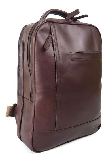 Back Pack Grande Ag Leather 100% Piel Marrón
