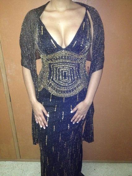 Vestido De Fiesta Formal Largo Negro Y Dorado Con Shal