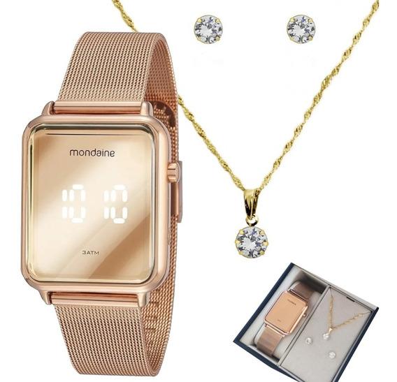 Relógio Feminino Digital Original+ Colar Brinco Banhado 18k