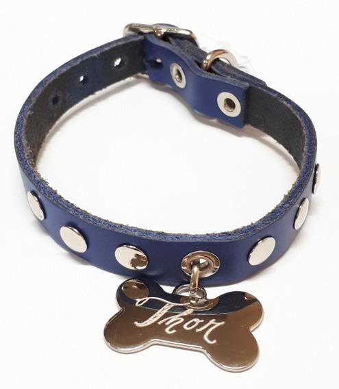 Coleira Pet Cachorro Couro Personalizada Nome E Telefon