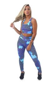 4 Conjuntos Calça Legging Top Moda Fitness Roupas Academia