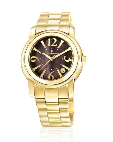 Relógio Pulso Jean Vernier Feminino Aço Dourado Jv01008