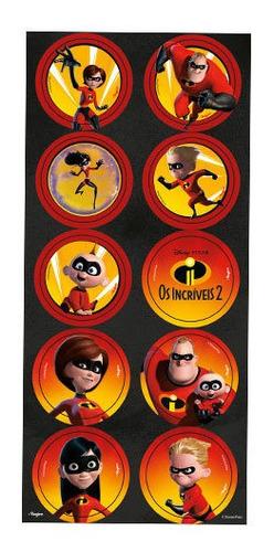 Imagem 1 de 3 de Adesivo Os Incríveis Disney Pixar C/30un - Regina - 4u Festa