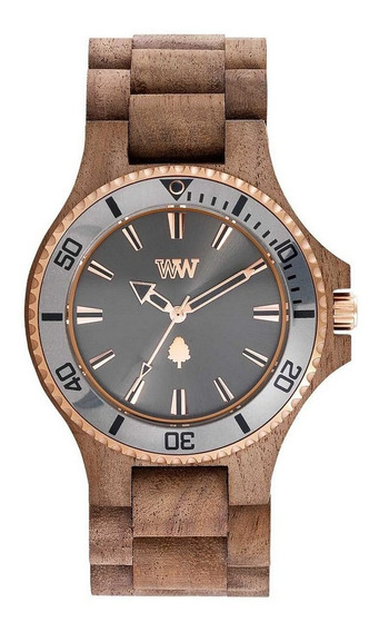 Relógio De Madeira Wewood Date Mb Nut Rough Gun
