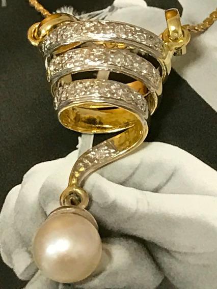 Conjunto Colar Ouro 18k-6.4gr C/pingente E Diamantes.