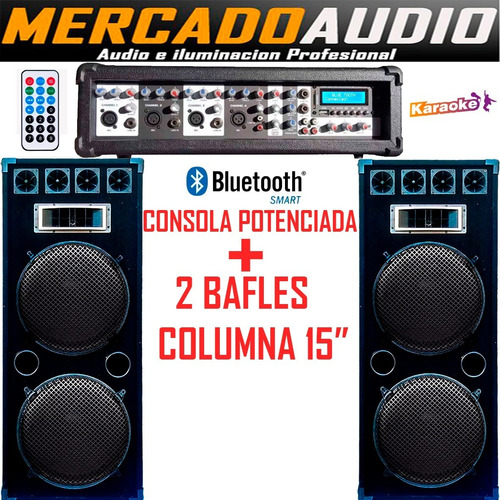 Imagen 1 de 4 de Combo Karaoke Potenciada Usb Bluetooth+2 Bafles Columna 15