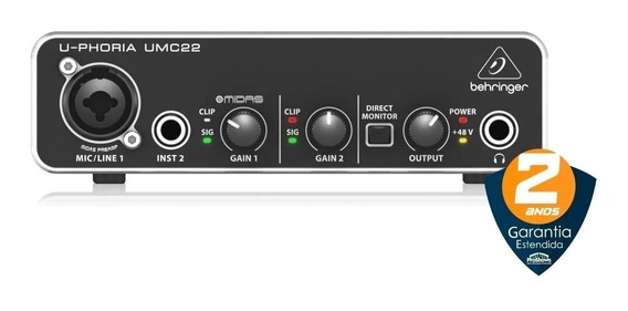Behringer Umc22 Interface De Áudio U-phoria Garantia 2 Anos
