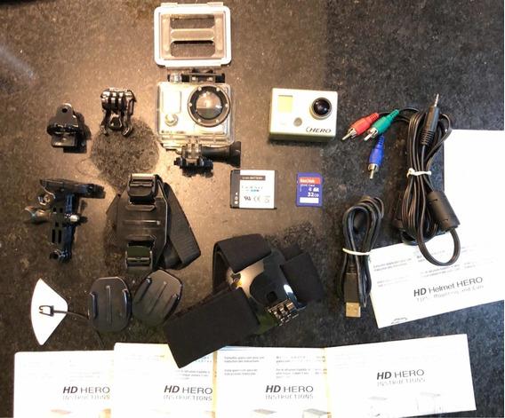 Câmera Go Pro Hero Full Hd + Cartão 32gb + Vários Acessório