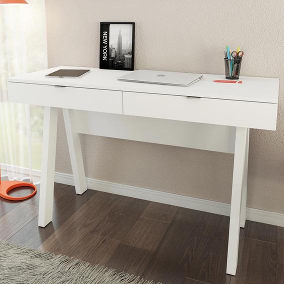 Mesa Escrivaninha 2 Gavetas Branco Me4128 - Tecno Mobili