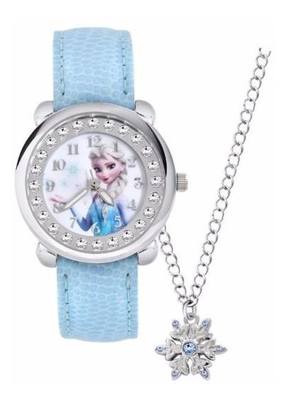 Relógio Frozen Sophia Disney Pulseira Couro Com Colar