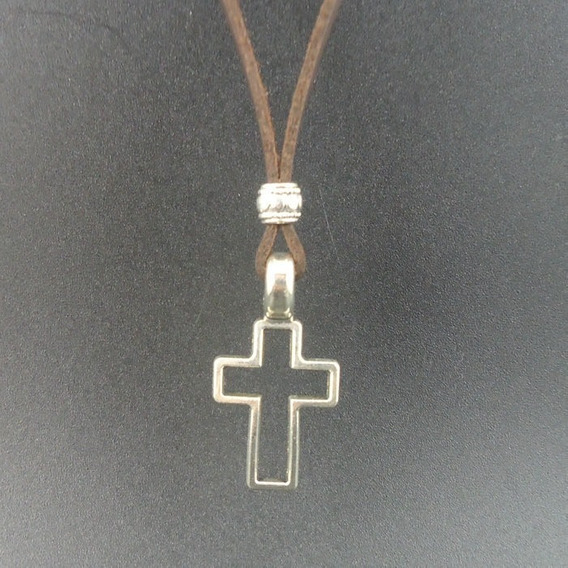 Colar Cordao Corrente Cruz Couro Jesus (viva,tommy,ray,bulo)