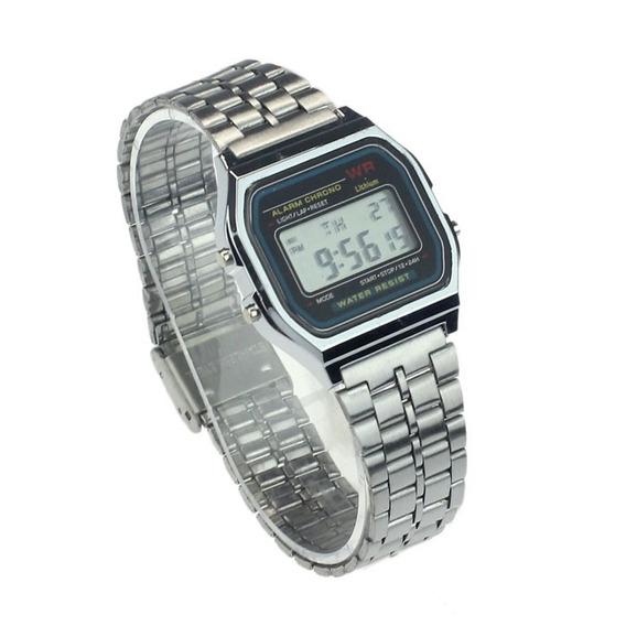 Relógio Digital Aço Inoxidável Unisex Alarme E Cronômetro