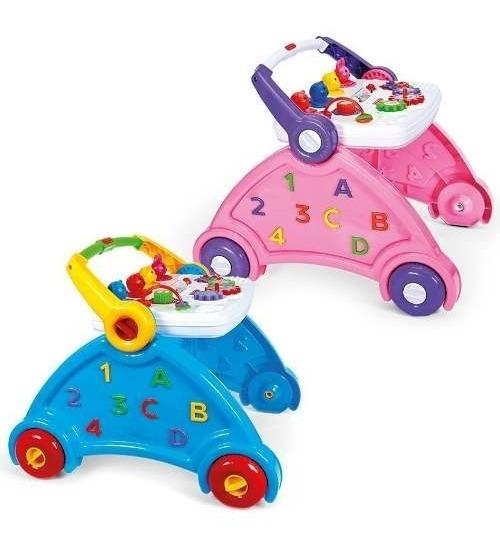 Andador Didatico Azul Ou Rosa Brinquedo Infantil Poliplac