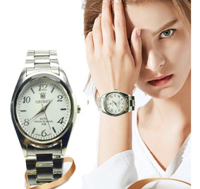 Relógio Feminino Pulseira Aço Inox Lindo Qrimet Barato