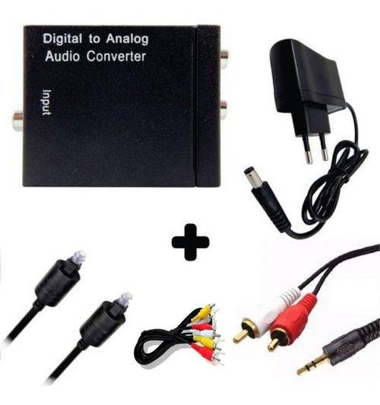 Conversor Áudio Digital Optico Analógico + Rca M + Rca X P2