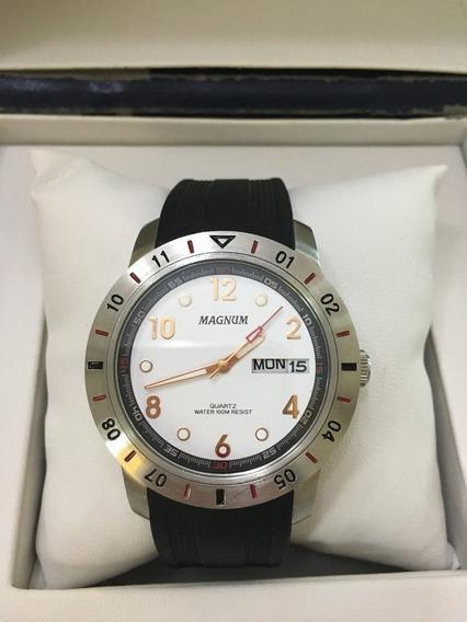 Relógio De Pulso Magnum 31971 Prata Borracha Masculino 10atm