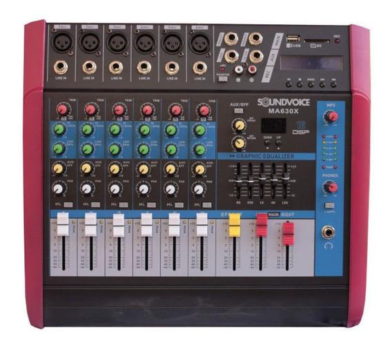 Mesa De Som Amplificada 500w 4 Ohms 6 Canais Mono Soundvoice