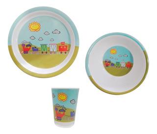 Set Infantil De Plástico Melamina Con Diseños