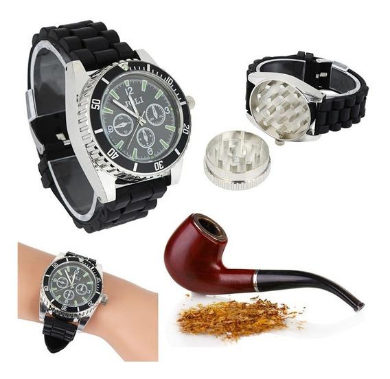 Relógio Dichavador Triturador Moedor Fumo Ervas Preto Aço