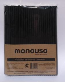 100 Canudos De Papel Biodegradável Preto 6mm Atacado