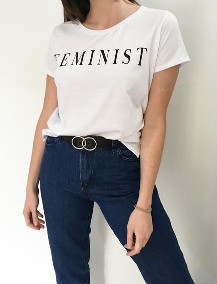 Remera Blanca Feminist Feminista Estampada