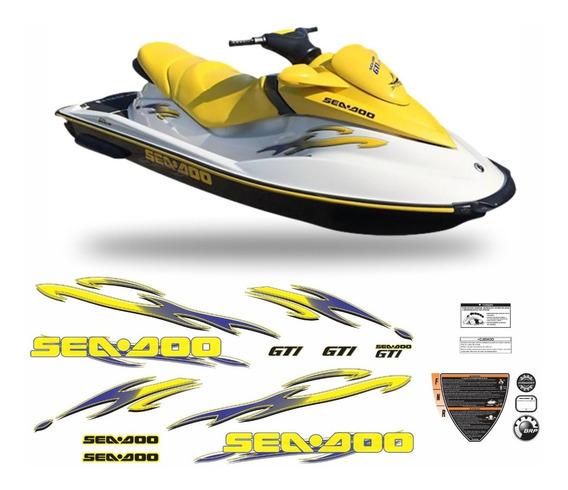 Kit Adesivo Jet Ski Sea Doo Gti 750 Amarelo Completo Jtki27