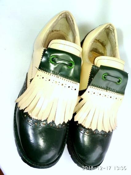 Bellmur 100% Cuero Zapatos Oxford Combinados Verde Y Manteca