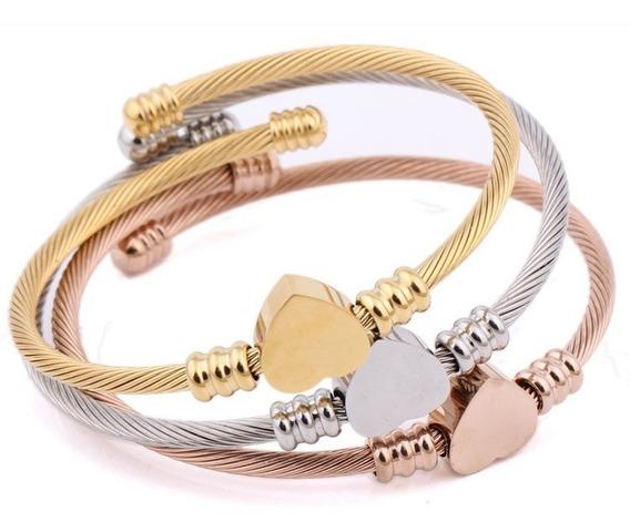 Pulseira Bracelete Coração Aço Inox Banhado Ouro 18k