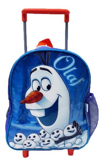 Mochila Con Carrito 12p Olaf Frozen 32x20cm 2 Bolsi 1 Cierre
