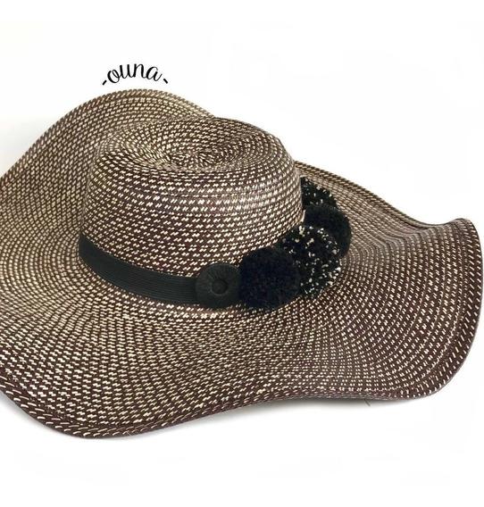 Sombrero Vueltiao 19 Vueltas Pompones Negros Mujer Ouna