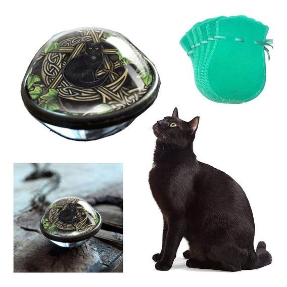 Colar Esfera Black Cat Love Gato Pentagrama + Brinde